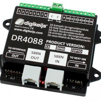 DR4088CS - Rétrosignalisation, 16 entrées, S88N IN/OUT