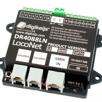 DR4088LN-2R - Rétrosignalisation, 16 entrées, S88N IN, LocoNet