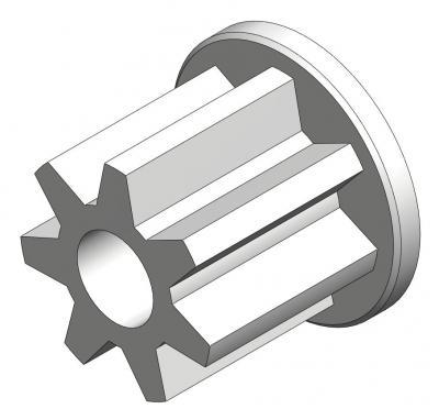 KAM000 - Pignon 7 Dents renforcé, axe Ø1.8mm (JOUEF), module 0,5